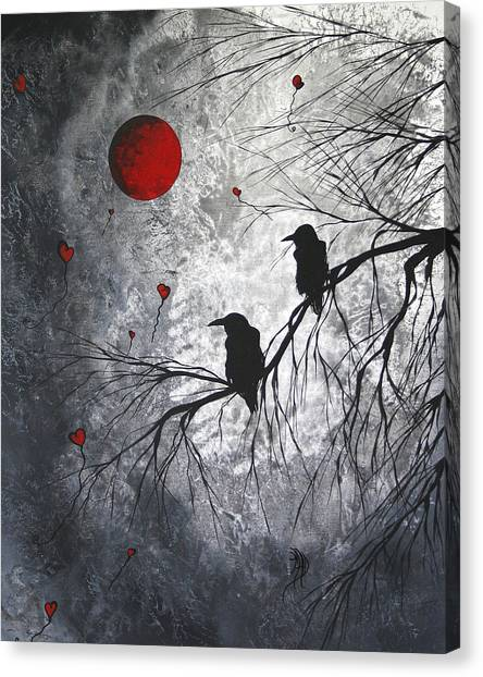 Crow Canvas Print - Original Abstract Surreal Raven Red Blood Moon Painting The Overseers By Madart by Megan Duncanson