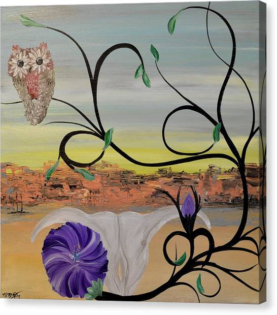Original Acrylic Artwork By Mimi Stirn - Hoomasters Collection -hooo'keeffe #415 Canvas Print