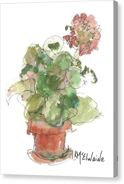Original Buspaintings Geranium Watercolor Painting By Kathleen Mcelwaine Canvas Print