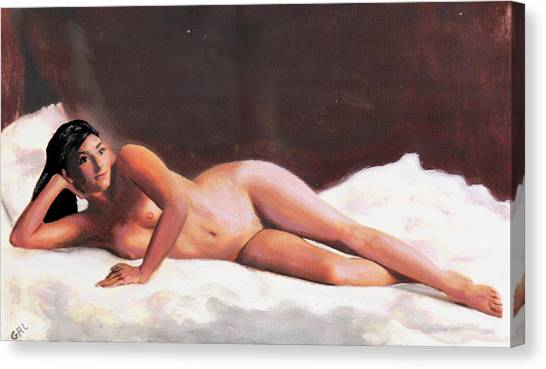 Original Fine Art Female Nude Reclining On White Canvas Print by G Linsenmayer