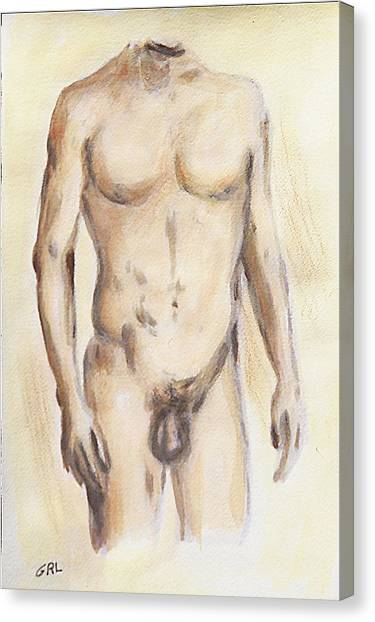 Original Painting Of A Nude Male Torso Canvas Print