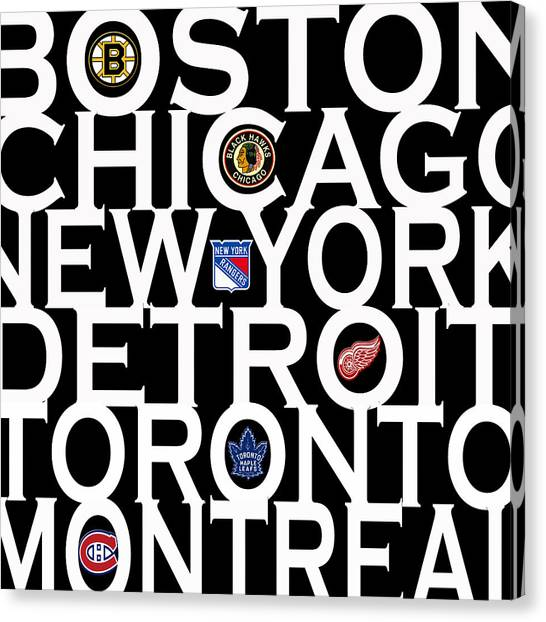 Boston Bruins Canvas Print - Original Six by Andrew Fare