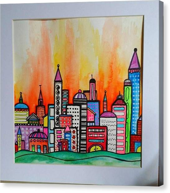 Skyline Canvas Print - Original #watercolor ..fire In The by Robin Mead