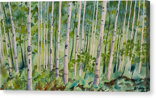 Original Watercolor - Summer Aspen Forest Canvas Print