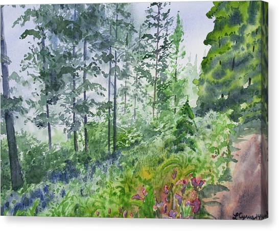 Original Watercolor - Summer Pine Forest Canvas Print