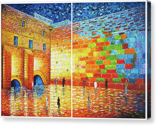 Canvas Print featuring the painting Original Western Wall Jerusalem Wailing Wall Acrylic 2 Panels by Georgeta Blanaru