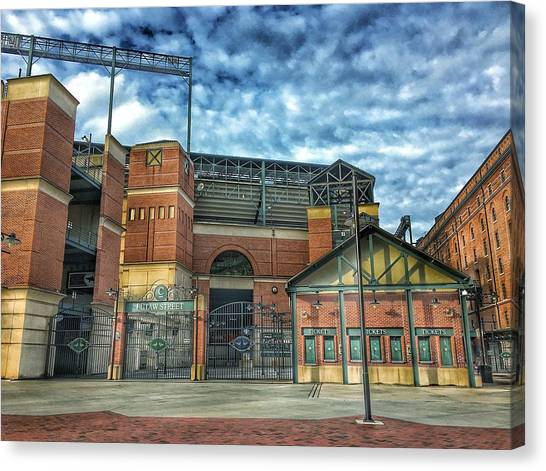 Orioles Canvas Print - Oriole Park At Camden Yards Gate by Marianna Mills