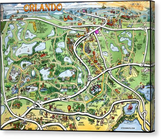 Orlando Florida Cartoon Map Canvas Print