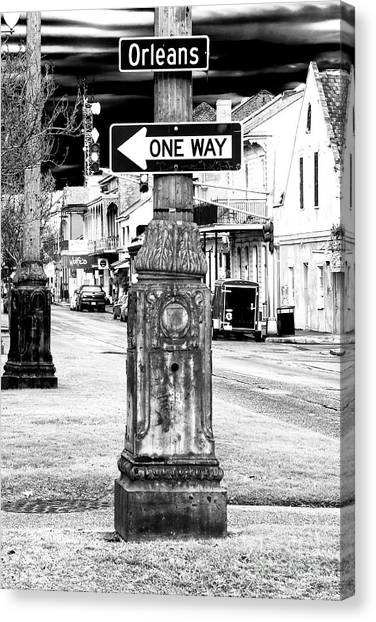 Street Signs Canvas Print - Orleans Street One Way by John Rizzuto