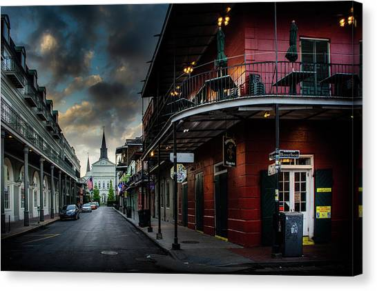Orleans Street To St Louis Cathedral Canvas Print