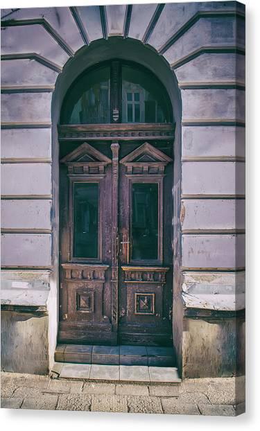 Architectur Canvas Print - Ornamented Wooden Gate In Violet Tones by Jaroslaw Blaminsky