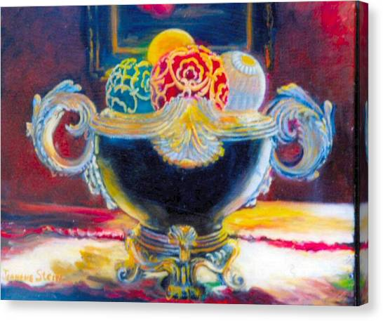 Ornate Black Bowl Canvas Print by Jeanene Stein