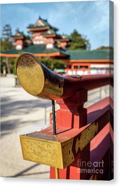 Ornate Details O Heian Jingu Shrine In Kyoto Canvas Print