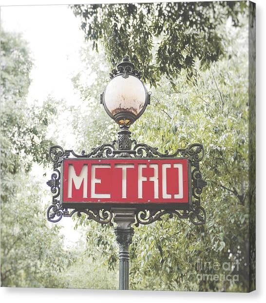 Ornate Paris Metro Sign Canvas Print