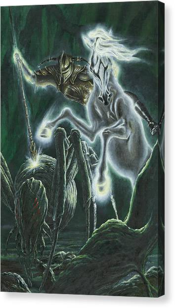 Canvas Print featuring the painting Orome Hunts The Creatures Of Morgoth by Kip Rasmussen