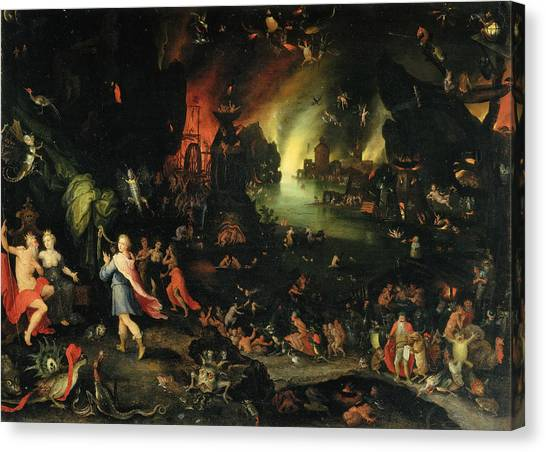 Pluto Canvas Print - Orpheus Sings For Pluto And Proserpina by Jan Brueghel the Elder