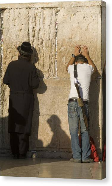 Judaism Canvas Print - Orthodox Jew And Soldier Pray, Western by Richard Nowitz