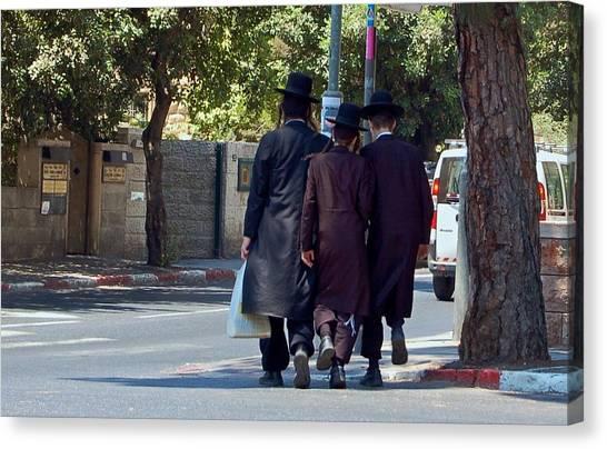 Orthodox Jews In Jerusalem Canvas Print by Susan Heller