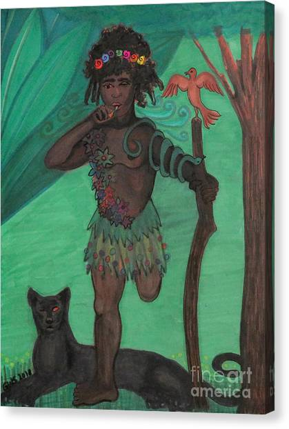 Canvas Print featuring the drawing Osain by Gabrielle Wilson-Sealy