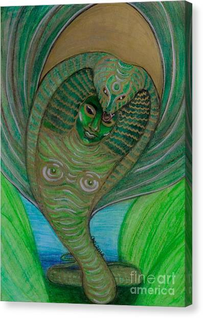 Canvas Print featuring the drawing Wadjet Osain by Gabrielle Wilson-Sealy