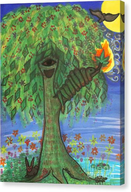 Canvas Print featuring the drawing Osain Tree by Gabrielle Wilson-Sealy