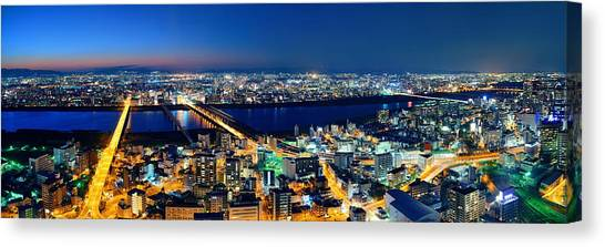 Osaka Night Rooftop View Canvas Print