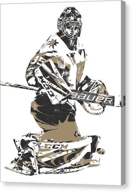 Vegas Golden Knights Canvas Print - Oscar Dansk Vegas Golden Knights Pixel Art 1 by Joe Hamilton