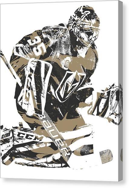 Vegas Golden Knights Canvas Print - Oscar Dansk Vegas Golden Knights Pixel Art 2 by Joe Hamilton