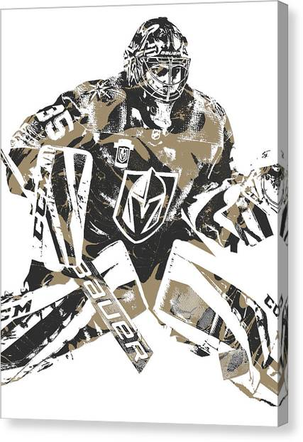 Vegas Golden Knights Canvas Print - Oscar Dansk Vegas Golden Knights Pixel Art 3 by Joe Hamilton