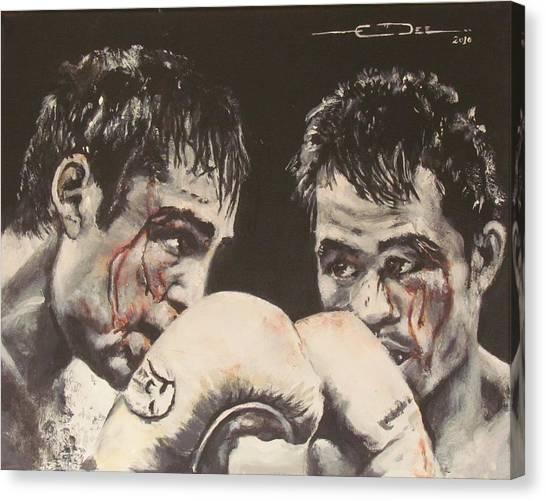 Manny Pacquiao Canvas Print - Oscar De La Hoya Vs Manny Pacquiao by Eric Dee