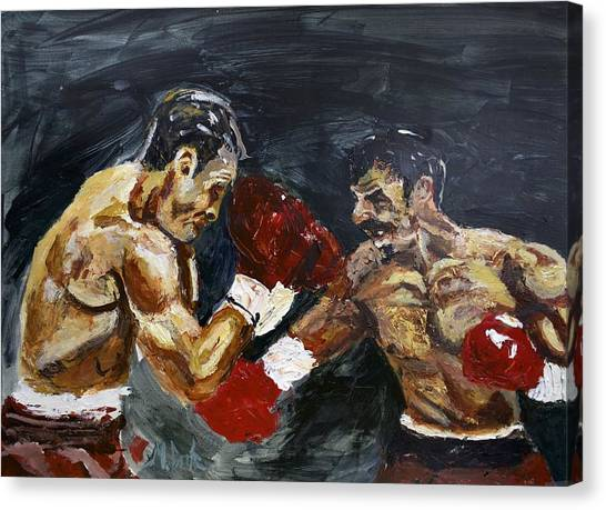 Manny Pacquiao Canvas Print - Oscar De La Hoya Vs Manny Pacquiao by Michael Cook