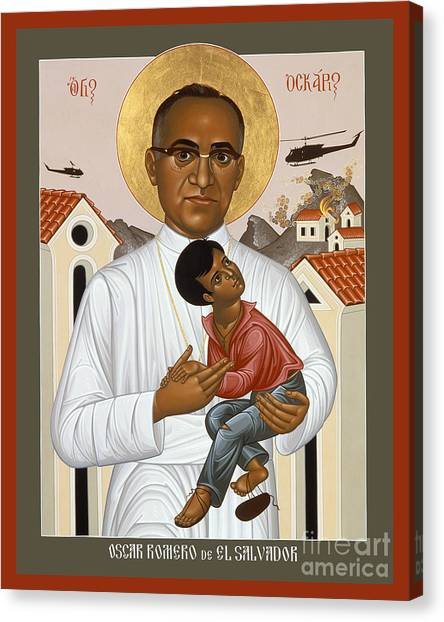 Christian Sacred Canvas Print - Oscar Romero Of El Salvado - Rlosr by Br Robert Lentz OFM