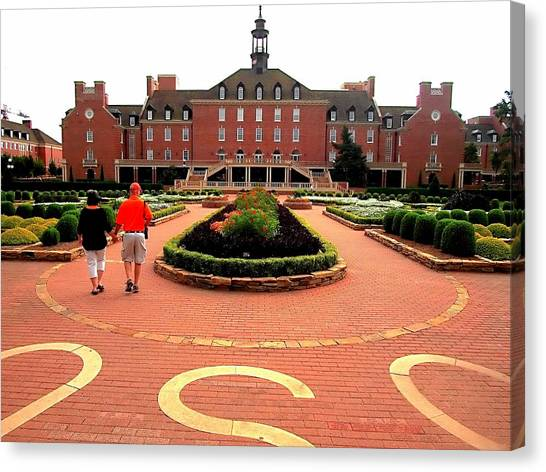 Oklahoma State University Canvas Print - Osu Student Union And Garden by Buck Buchanan