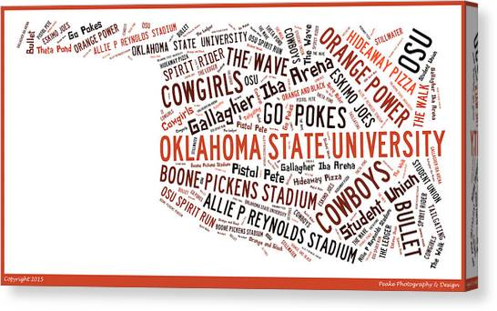Oklahoma State University Canvas Print - Osu Word Art Oklahoma State University  by Roberta Peake
