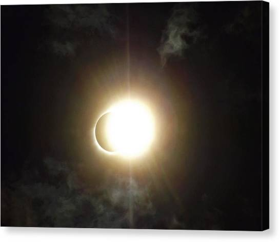 Otherworldly Eclipse-leaving Totality Canvas Print
