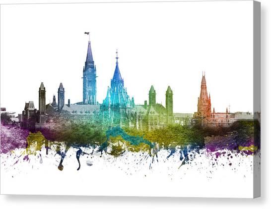 Ottawa Canvas Print - Ottawa Capital Hill Skyline 01 by Aged Pixel