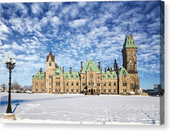 Peace Tower Canvas Print - Ottawa Parliament East Block by Jane Rix