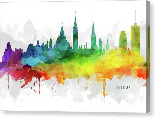 Ottawa Canvas Print - Ottawa Skyline Mmr-caonot05 by Aged Pixel