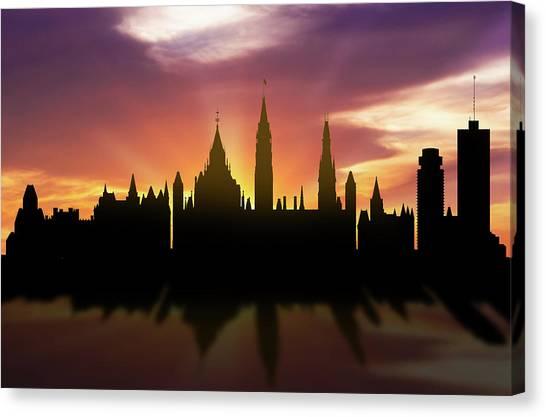 Ottawa Canvas Print - Ottawa Skyline Sunset Caonot22 by Aged Pixel