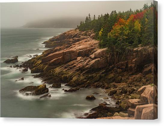 Canvas Print featuring the photograph Otter Cliffs by Gary Lengyel