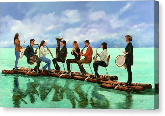 Saxophones Canvas Print - Ottetto In Navigazione by Guido Borelli