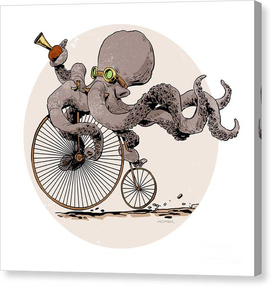 Octopus Canvas Print - Otto's Sweet Ride by Brian Kesinger