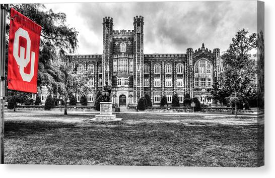 University Of Oklahoma Norman Campus University Of Oklahoma Canvas Print - Ou Evens Hall by JC Findley