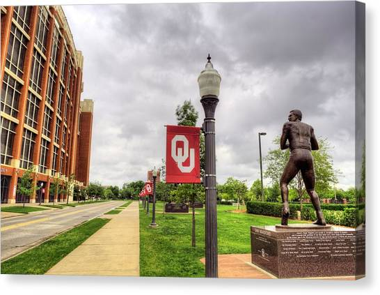 Big Xii Canvas Print - Ou Stadium Jenkins Avenue by JC Findley