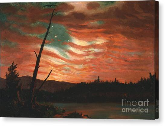 Lake Canvas Print - Our Banner In The Sky by Frederic Edwin Church