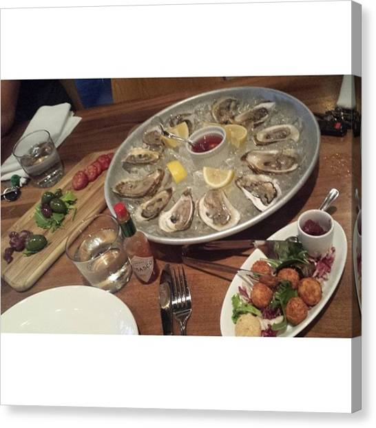 Oysters Canvas Print - Our Beautiful Entrées At Dinner Last by Amanda Labadie