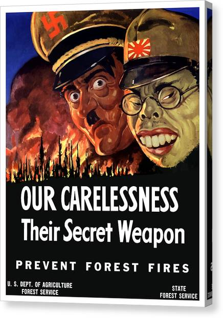 Caricatures Canvas Print - Our Carelessness - Their Secret Weapon by War Is Hell Store