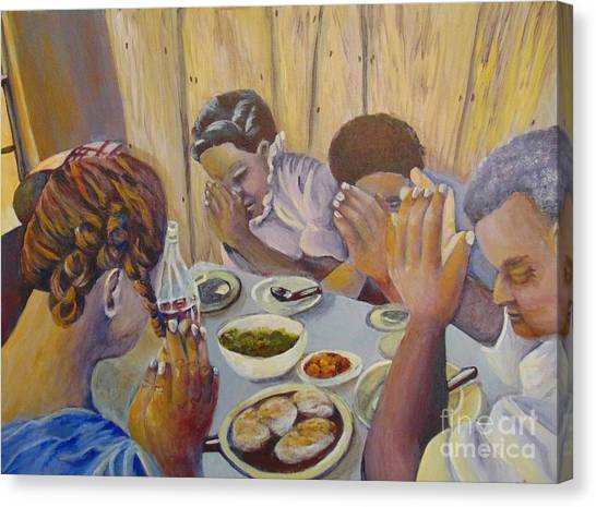 Canvas Print featuring the painting Our Daily Bread by Saundra Johnson