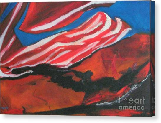 Our Flag Their Oil Canvas Print by Patrick Mills