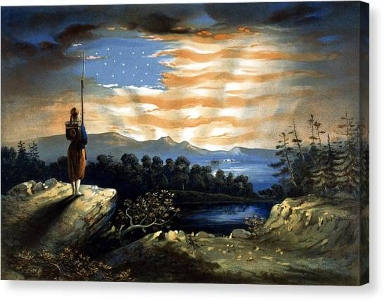 American Flag Canvas Print - Our Heaven Born Banner by War Is Hell Store